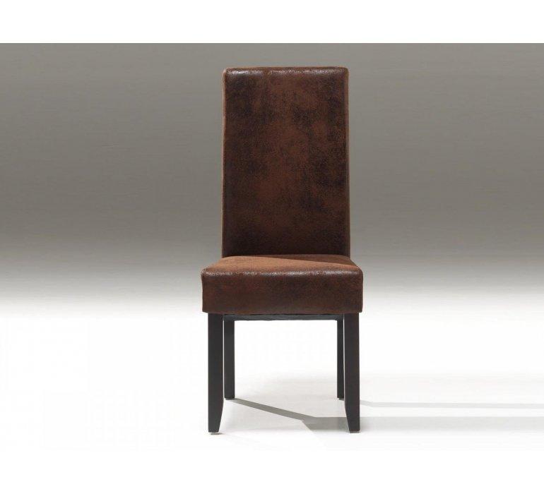 chaise suedine effet vieilli marron contemporain leony