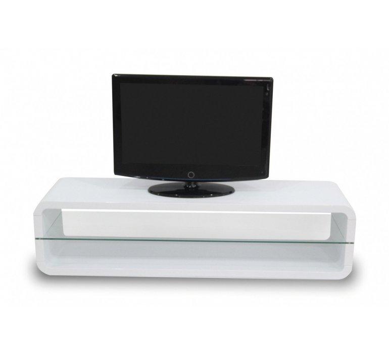 banc tv blanc laque et verre design aurora