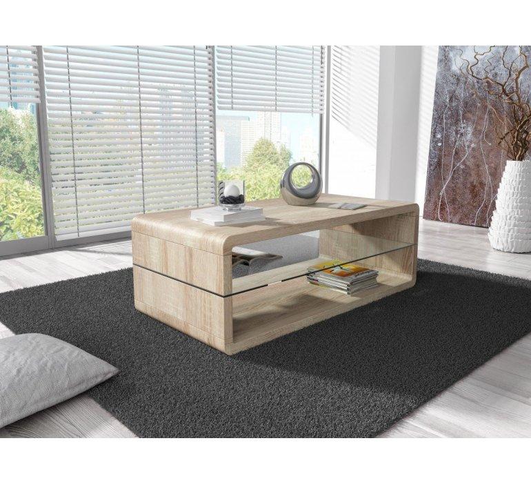 table basse verre et bois clair scandinave hilda