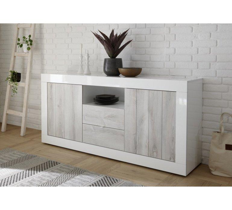 enfilade moderne blanc laque et bois gris clair san remo
