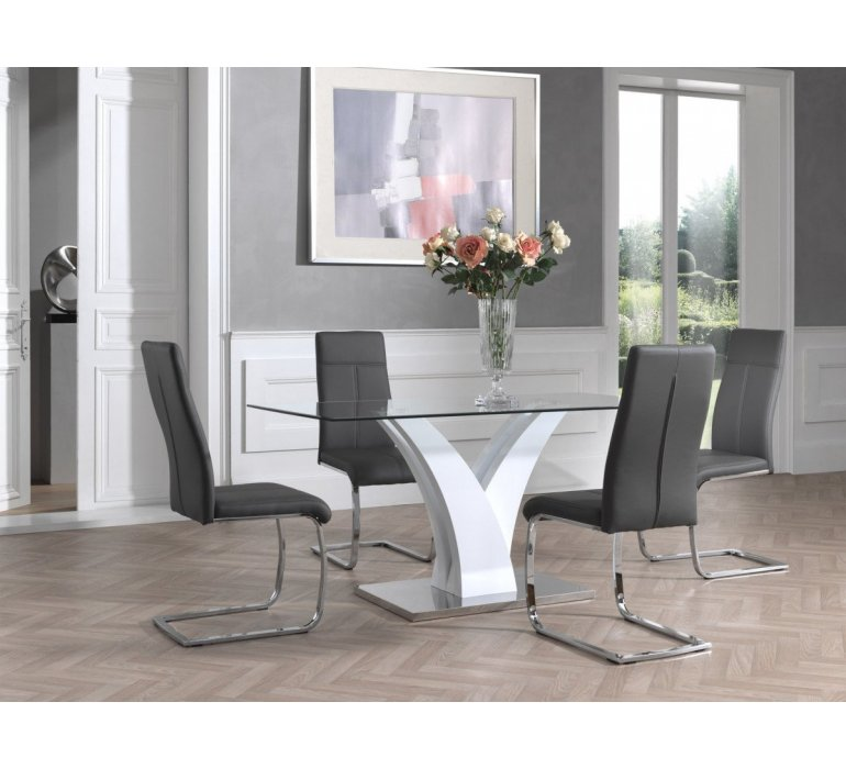 table a manger verre et blanc laque design kassandra