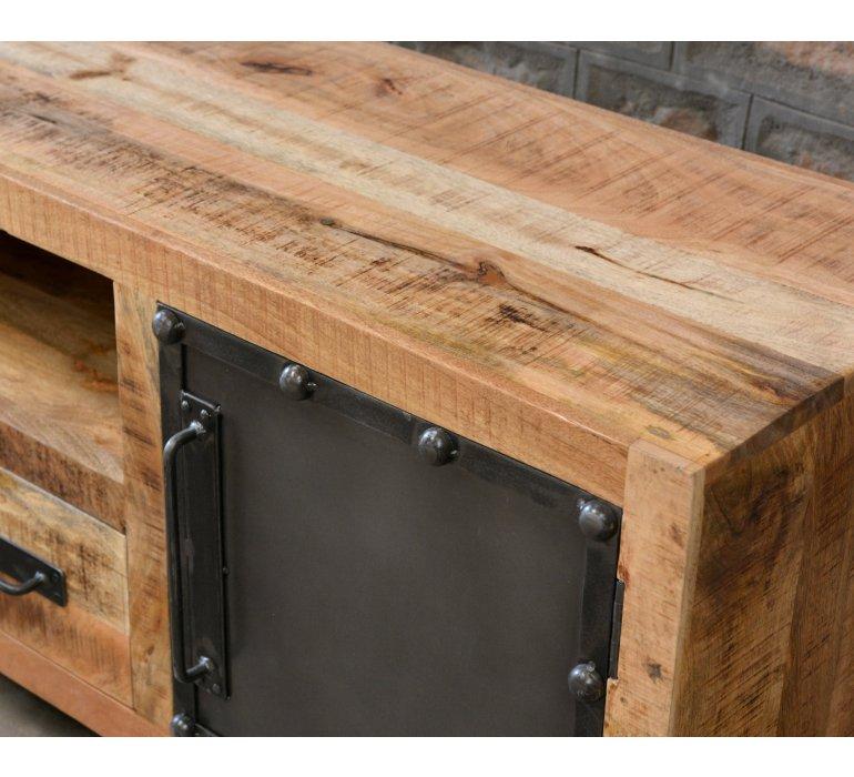 meuble tv industriel bois et metal lincoln
