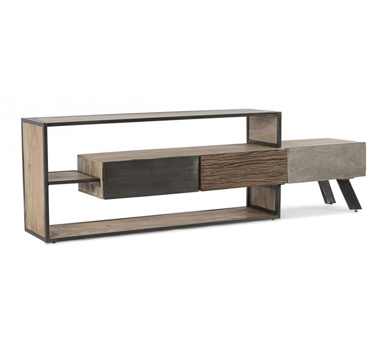 meuble tv moderne bois metal beton bradford