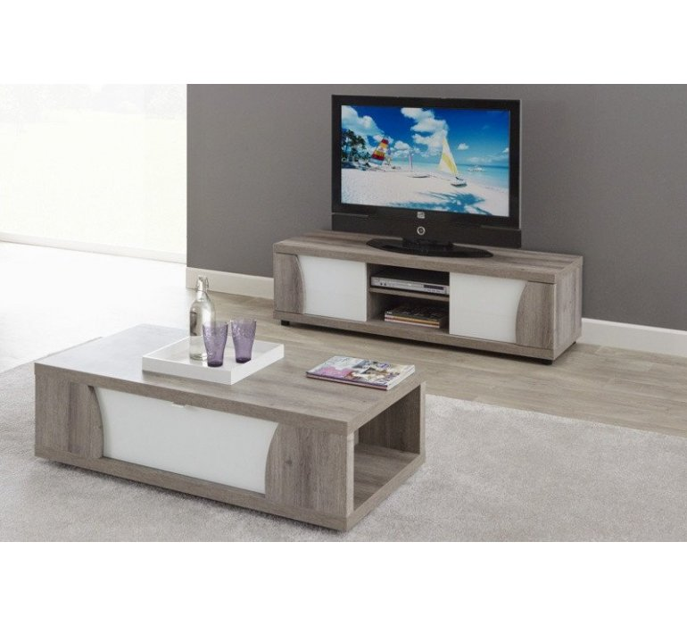 banc tv chene gris et blanc laque moderne baccara