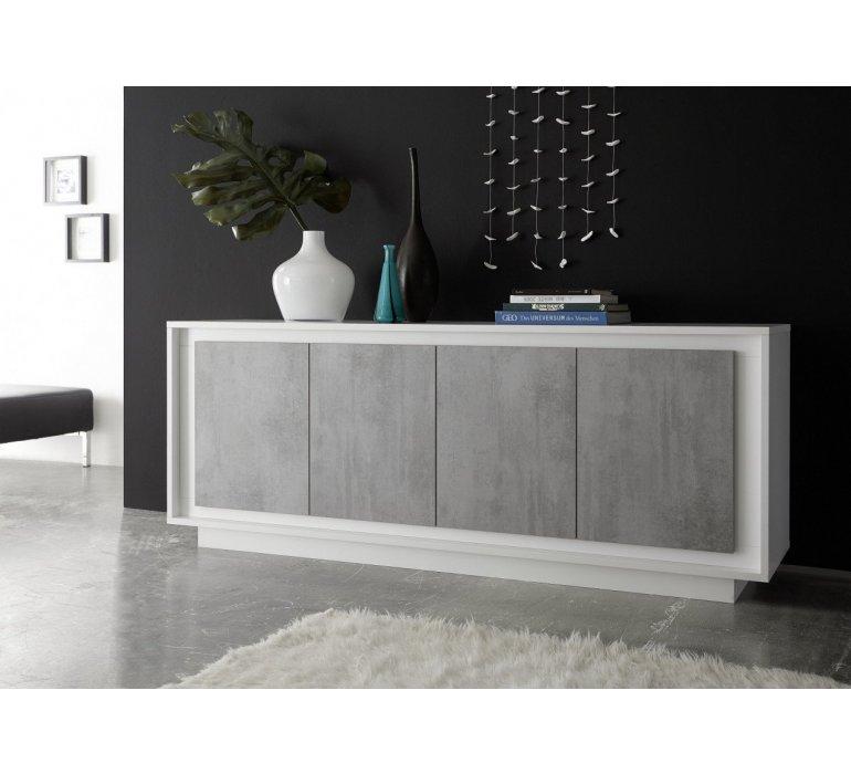 enfilade blanc laque et gris moderne grey