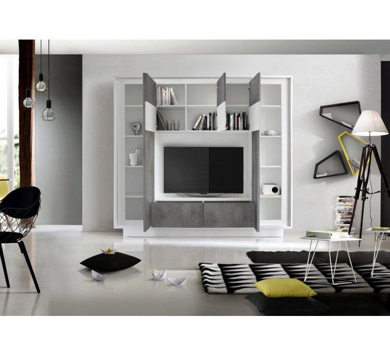 mur tv blanc laque et gris moderne grey