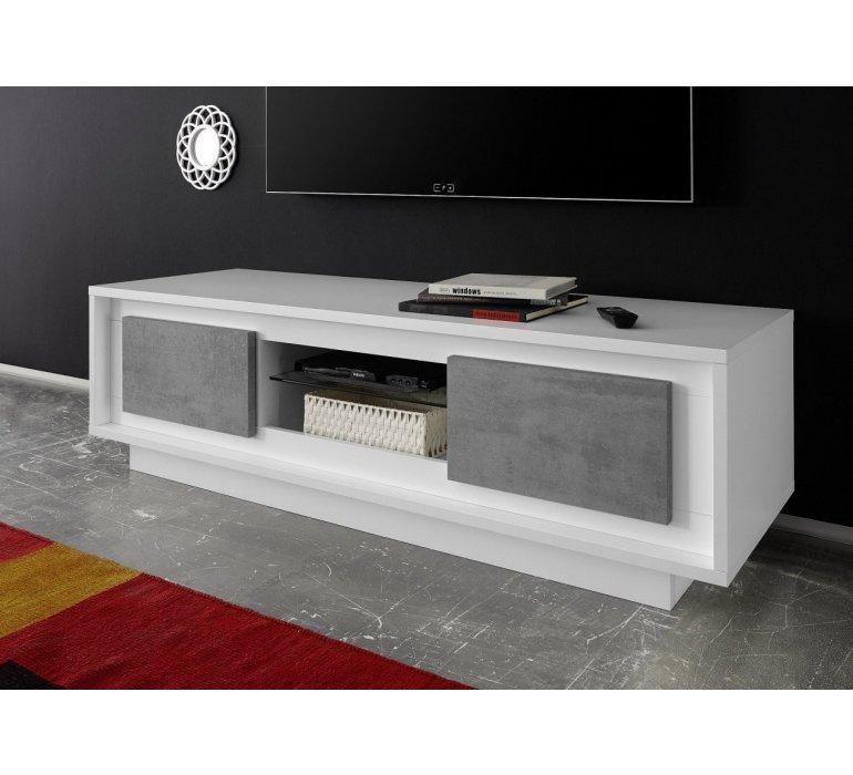 banc tv blanc laque et gris moderne grey