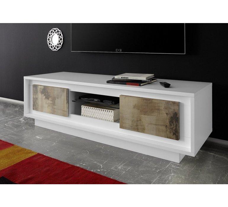 banc tv blanc laque et effet bois vieilli moderne fauve