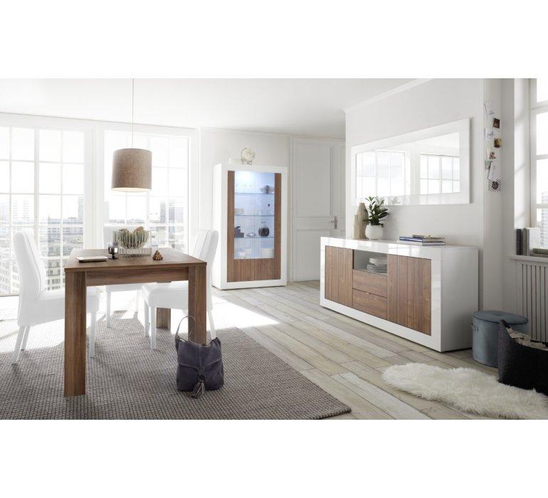 salle a manger blanc laque et bois coloris noyer moderne napoli