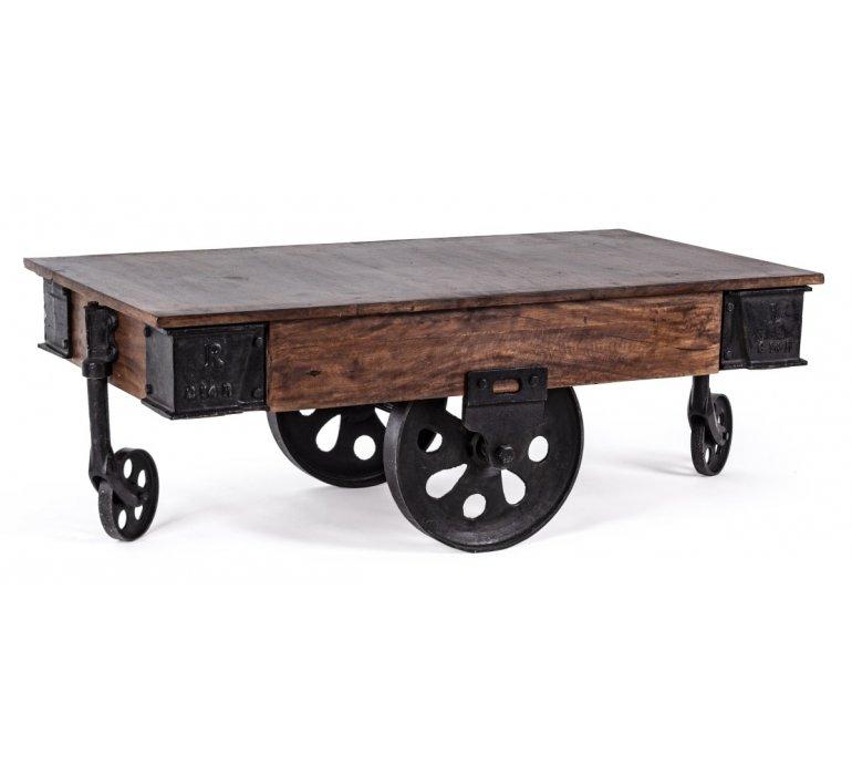 table basse sur roulette bois massif industriel poulie