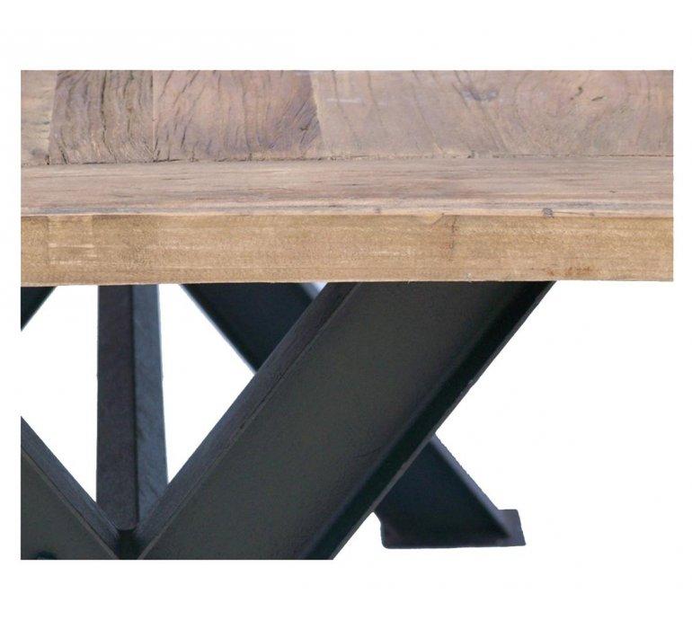 table a manger industrielle bois massif et metal 200cm dakota