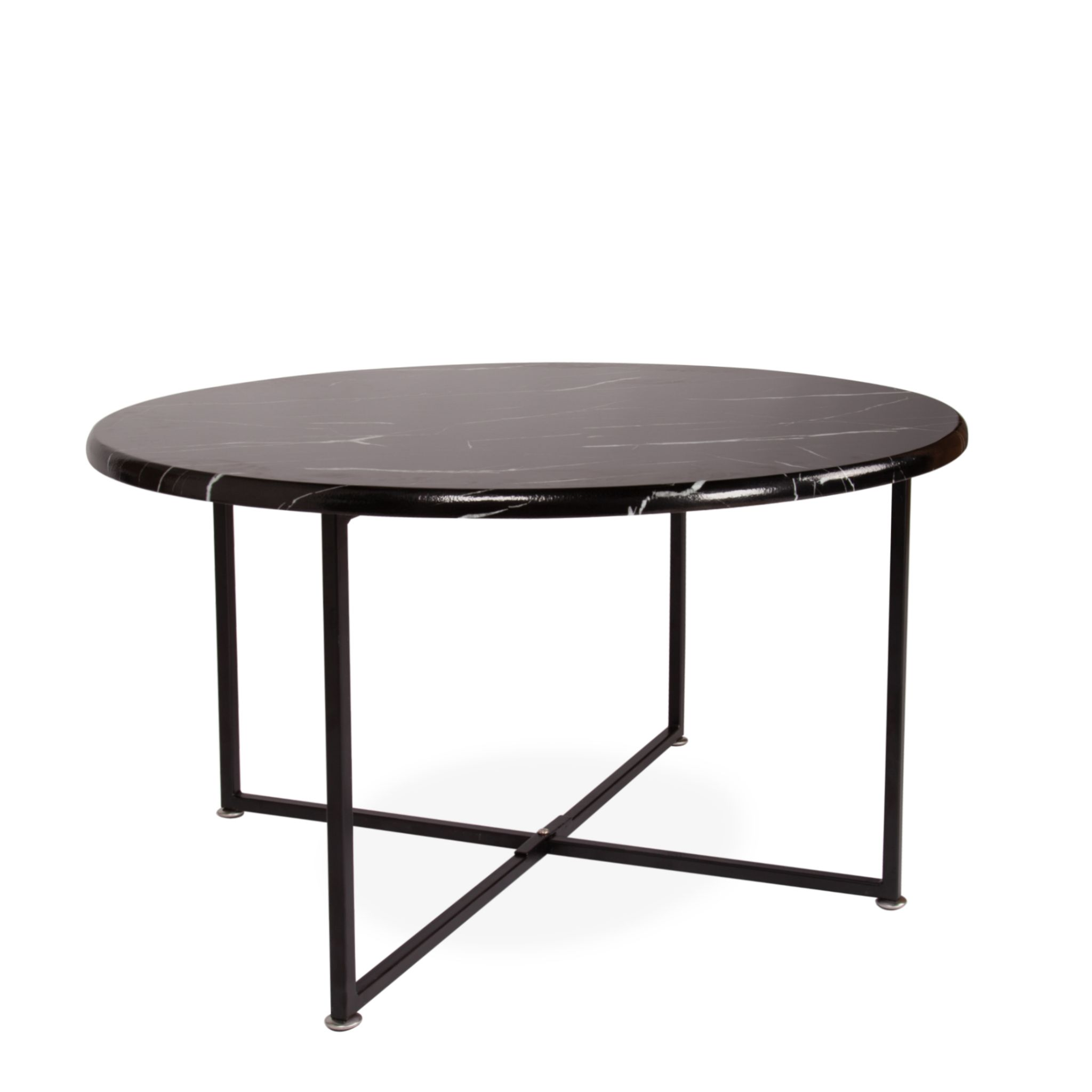 round coffee table with black marble top