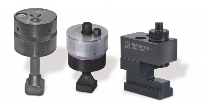 From left to right): hydro-mechanical clamping nut with clamping force display and continuous thread, followed by the mechanical version with clamping force display and through-hole and, on the right, a mechanical sliding clamp with clamping bolt.