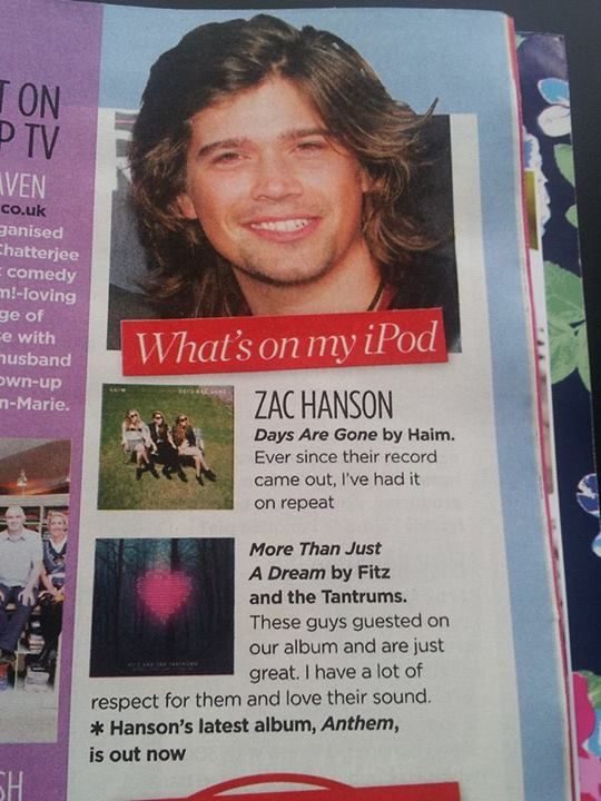 Zac Hanson in 'Woman' Magazine (UK)