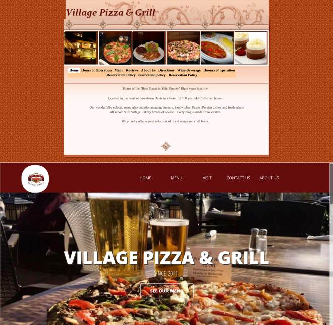 old restaurant website above new restaurant website
