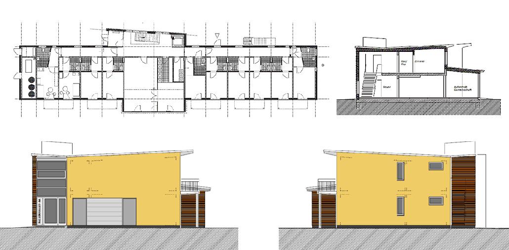 Ansichten und Grundriss Wohnhaus Falkenkamp