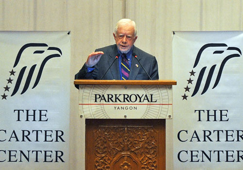 Former US President Jimmy Carter speaks in Yangon on April 5. Photo: AFP