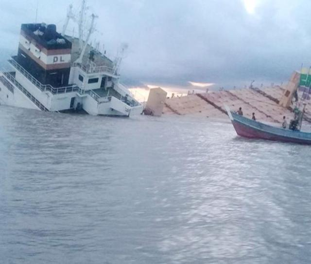 The Indonesian Flagged Ghost Ship Sinks Off The Thongwa Township Coast Photo