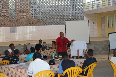 """Over 30 participants from the six parishes and their satellite churches in the Diocese of Central Melanesia (DOCM) in the Anglican Church of Melanesia (ACOM) have attended a five days 'Male Advocacy Training' at the Desmond Probets Hall, St. Barnabas Cathedral. The training aims to eliminating violence against women and girls, which is in the scope of ACoM's strategic plan Pillar five which is to 'Promote gender equality and peaceful communities'. Read more here Ian put this on the website – """"The reasons for gender based violence are multiple but one of the key ones is gender inequality and how this is manifested in different spheres of life,"""" said ACoM's General Secretary Dr. Abraham Hauriasi. """"Men are free to disagree, but in many households women do the most jobs from looking after the children, cooking, washing the dishes and clothes, cleaning the house and many more,"""" he continued to say. He went on to highlight the statistics that 64% of women between the ages of 15-49 have experienced physical or sexual violence or both, by those who are close or known to them in the Solomon Islands. Of these, 70% decided not to seek help while only 17% sought help formally. Therein lies one of the greatest challenges, the culture of silence and the normalisation of violence. Introducing the training, one of the three facilitators, the Reverend Raki Tigarea from the Institute for Mission and Research at the Pacific Theological College in Suva, Fiji, highlighted the story on Genesis, where man and woman are created by the same God in Unity. """"Our being and our identity as man and woman, male and female, is equally, profoundly and wonderfully rooted and founded in God,"""" he said. """"This is a biblical and theological truth that must not and cannot be denied, ignored or explained away,"""" said Revd Raki. """"To be created in God's image refers to the capacity and ability given to humans to be able to reason and think, and to use our intellect or mental capacity and ability,"""" he stated. """""""