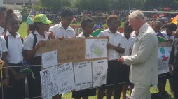 Prince Charles with Stop Malaria children