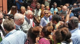 Prince Charles meeting people outside the Cathedral after service [Photo - Solomon Focus]