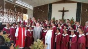 Prince Charles with St Barnabas Cathedral Choir after a service on Sunday [Photo - Solomon Focus]