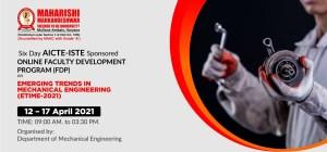 Faculty Development Programme (FDP) on Emerging Trends in Mechanical Engineering (ETiME-2021)