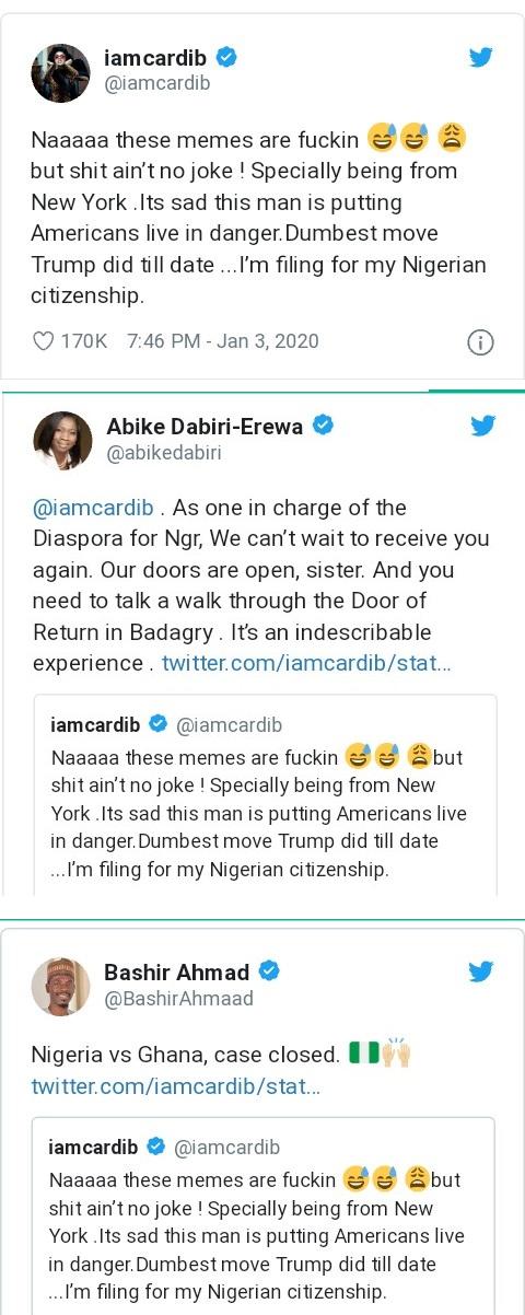 Cardi B Nigerian Citizenship Tweet