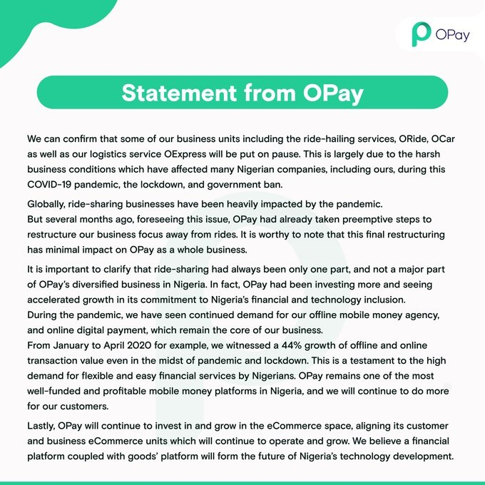 OPay Announcement on shutting down operations