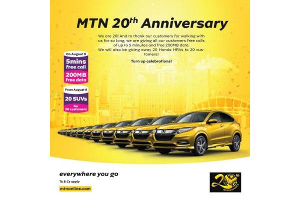 MTN Marks 20th Anniversary with 20 Honda SUVs