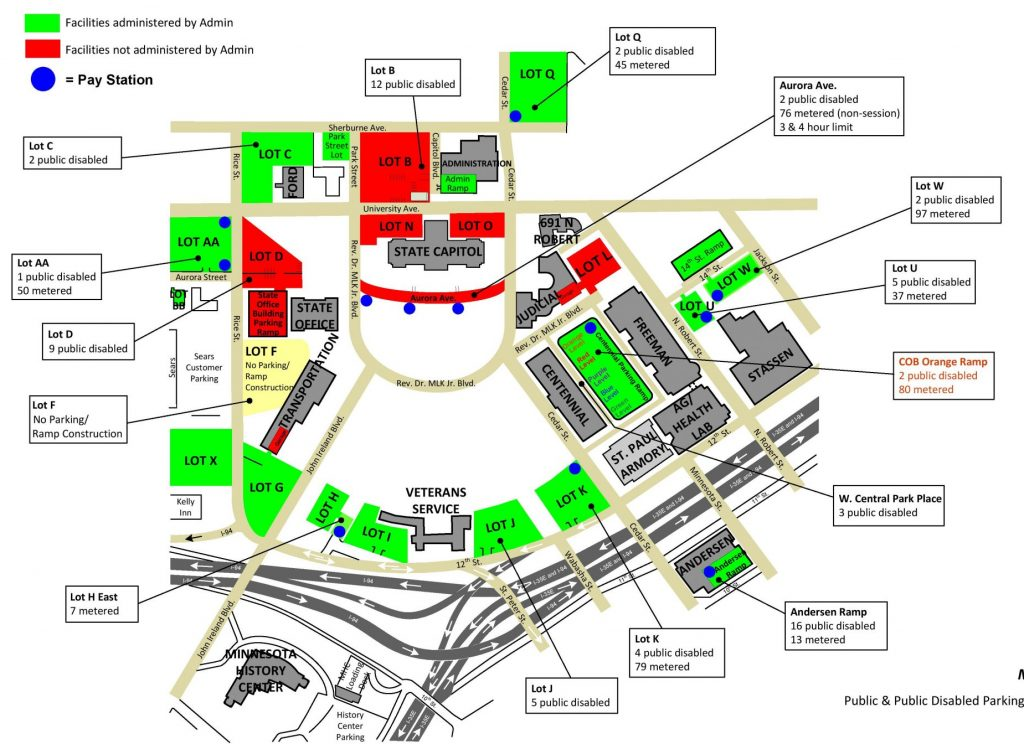 This is a map of the various parking options near the capitol.
