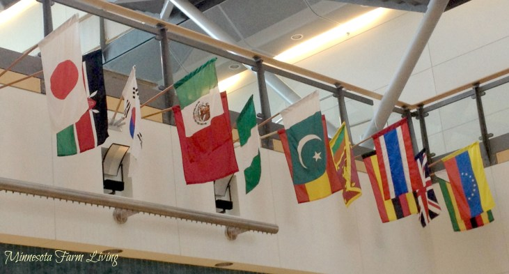 Flags representing countries of employees