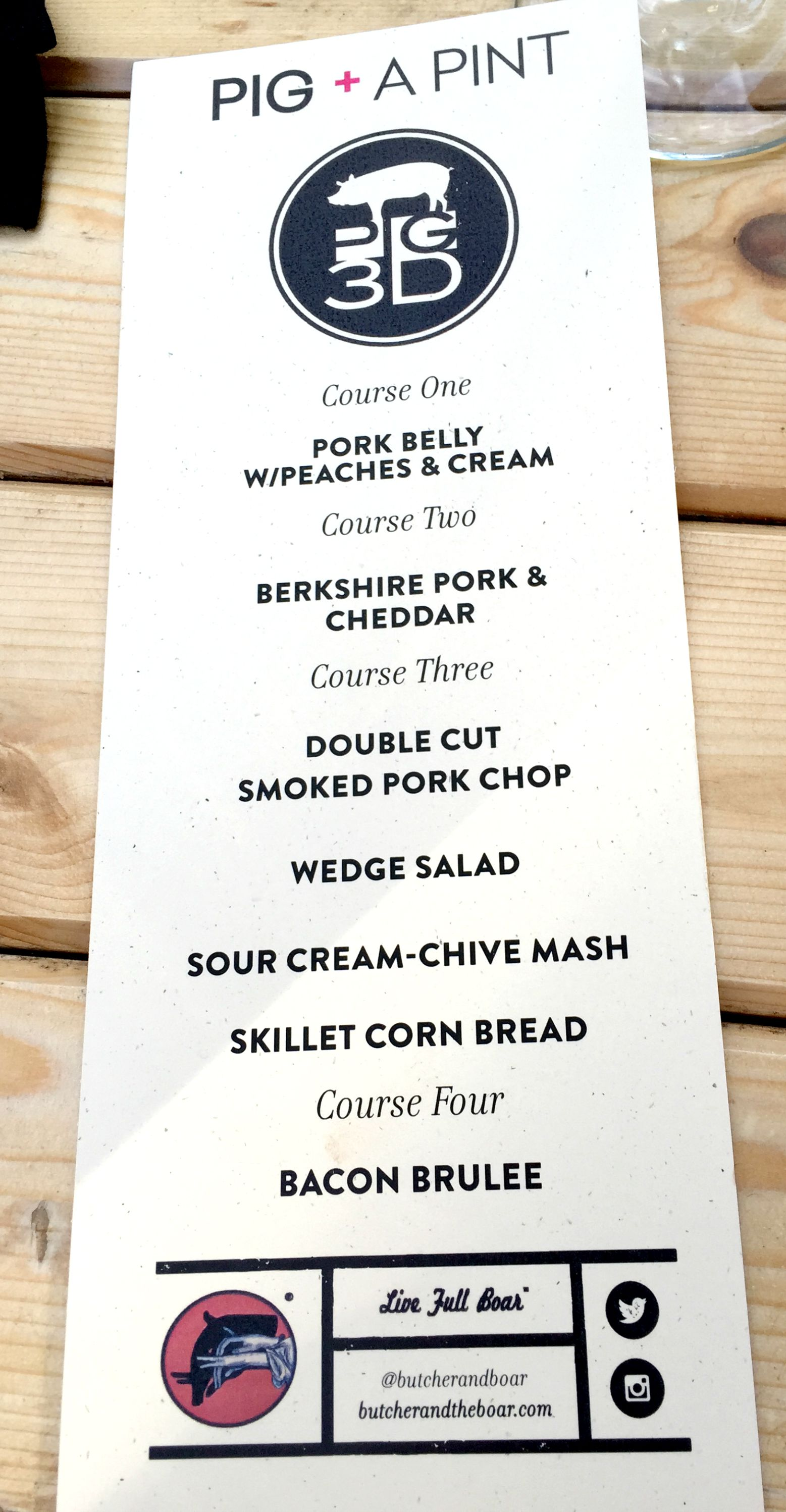 Butcher And The Boar Restaurant Menu