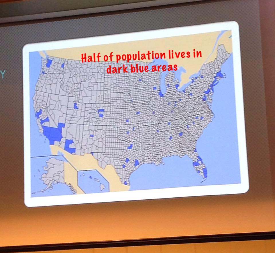 Interesting map showing where half the population lives