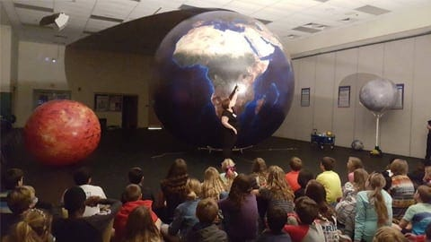 large globe earth with teacher and students
