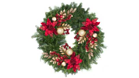 Photo shows a Christmas wreath called the
