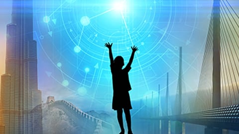 kid in cool science background