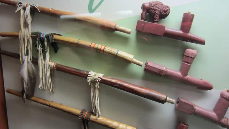 Display of Native American Pipes