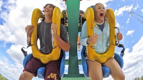 Kids on thrill ride