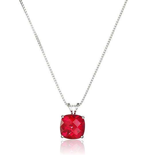 Sterling Silver Round Ruby Pendant