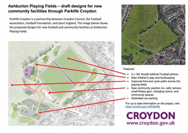 Ashburton Playing Fields drawing and features for release 16-07-18
