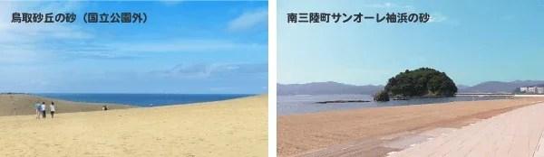 モアイの砂像シリーズは鳥取砂丘の砂(国立公園外)とサンオーレ袖浜の砂が素材です