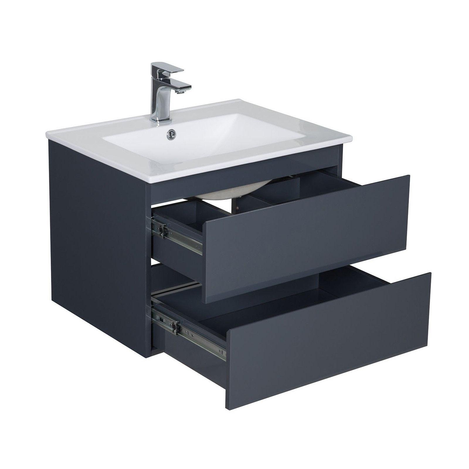 meuble salle de bain 60 cm suspendu gris anthracite sorrento