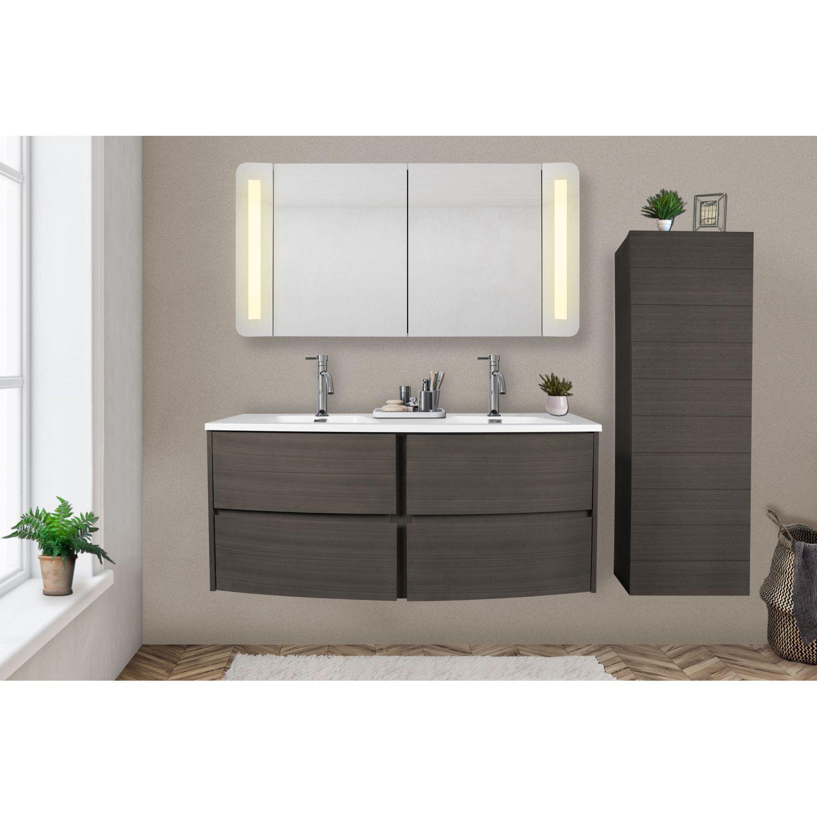 meuble salle de bain 120 cm taupe avec double vasque en resine blanche tiga