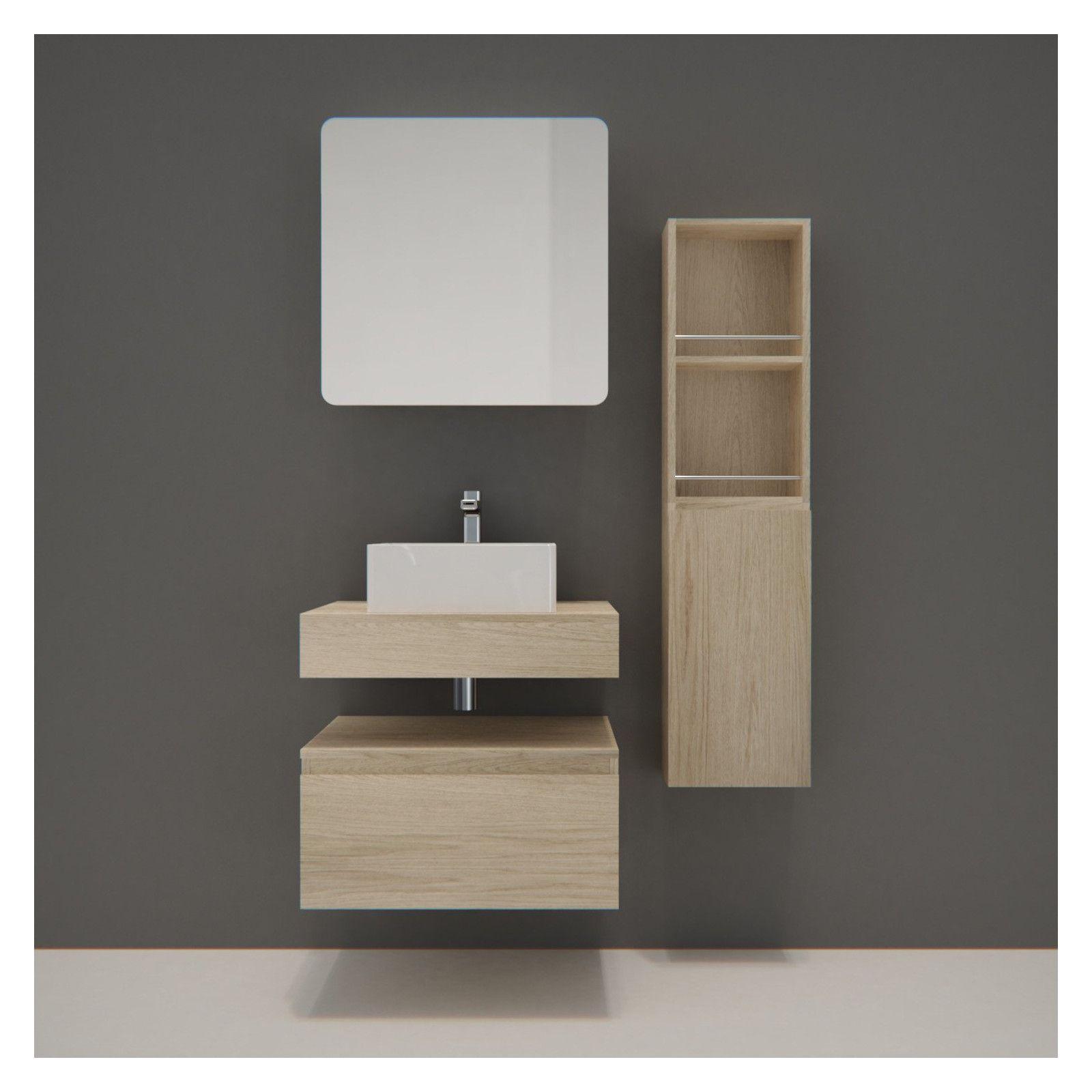 meuble de salle de bain will plan suspendu 60 cm vasque armoire de toilette equerres modules de rangement