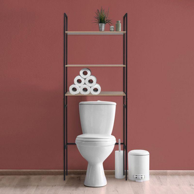 meuble wc pont de rangement etagere wc bois et metal sao hauteur 180 cm avec 3 etageres