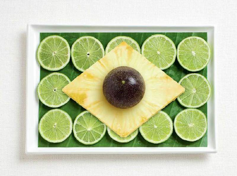 brazil flag made from food