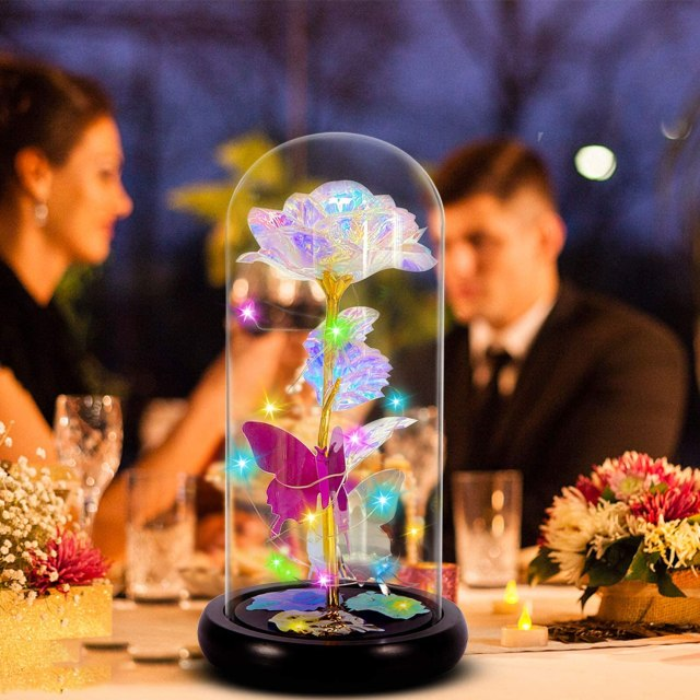 Gifts for Women Galaxy Rose Valentines Day for Wife Girls,Crystal Colorful Flowers Forever Roses with Led Decor,Best Gifts for Her,Wife,Mothers Day