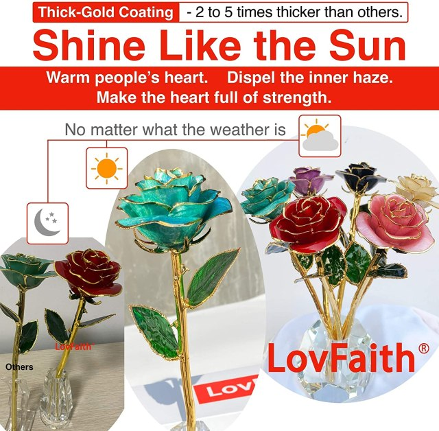 LovFaith Real Rose Dipped 24K Gold, Gift for Her Anniversary Valentines Day, Teal Blue Gold Rose Without Stand