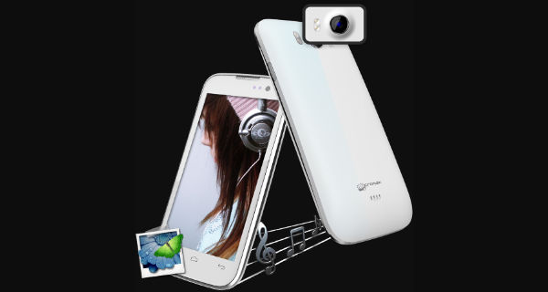 Micromax Canvas Music A88 Front and Back View